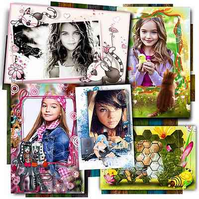 Collection photo frames - happy childhood ( 5 psd 5 png download )