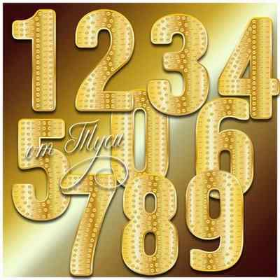 Gold numbers psd png download ( transparent background )