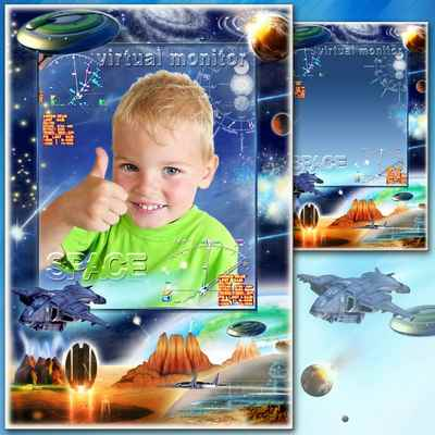 Сhild frame template - Space Odyssey in 2017 ( photo frame psd png download )