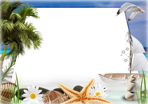 Marine Frame Summer Sea Palm Trees Frame Psd Png Download