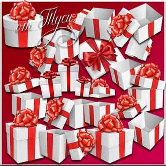 White gift box with red bow Clipart psd png ( transparent, download )