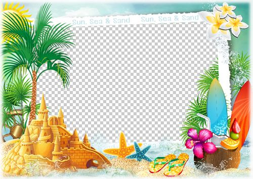 Marine summer photo frame - Wonderful summer ( frame template psd ...