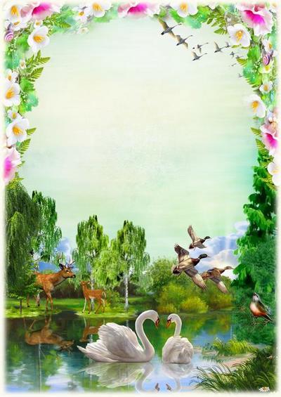 Nature photo frame - deer, river, swans ( frame psd png download ...
