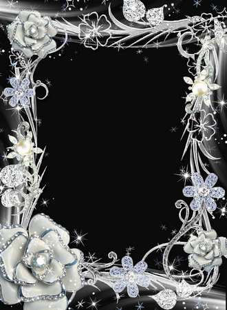 Silver frame for your photos - Lights of silver ( frame template psd png download )