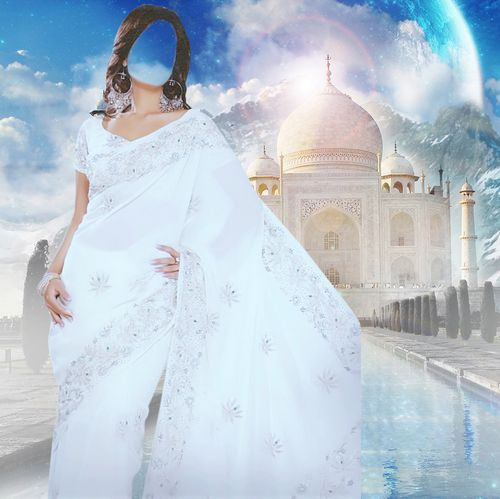 Lady in white Indian dress psd