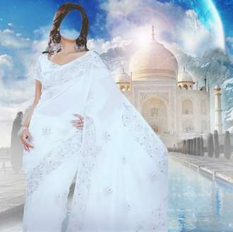 Lady in white Indian dress psd download