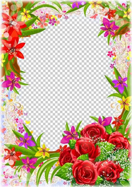Photoshop frame template with beautiful flowers. Transparent PNG ...