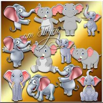 Funny Elephant Clipart ( psd, 13 png, transparent, download )