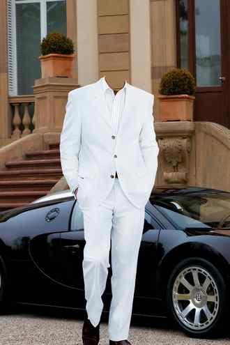 Male psd white suit black car