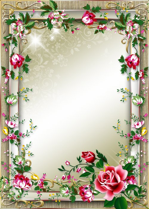 Frame for Photo with Beautiful Pink Roses ( PSD, PNG ) download ...