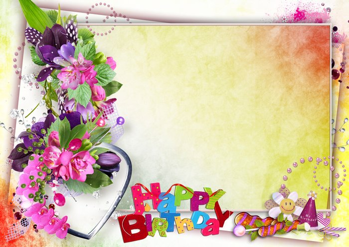 Photo frame Happy Birthday, PSD, PNG, download. Transparent PNG ...
