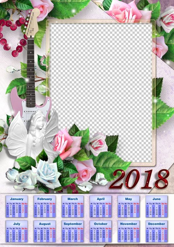 Free Vertical Calendar Template 2018 With Roses Guitar And Angel