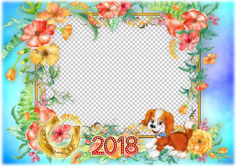 Funny Dog wishes you Good Luck in 2018 - photo frame PSD and PNG ...
