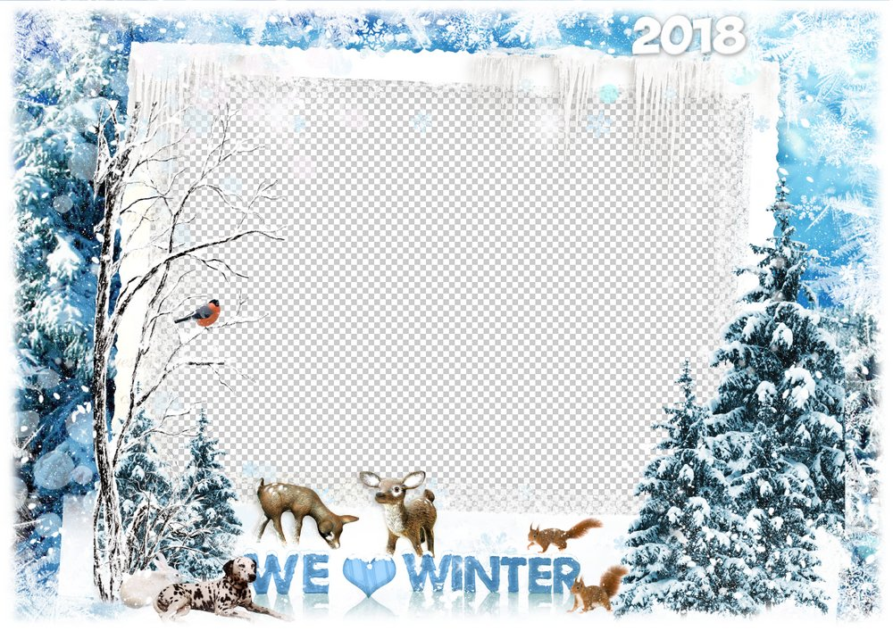 2018 Winter photo frame ( PSD, PNG ) - We love winter, free download ...