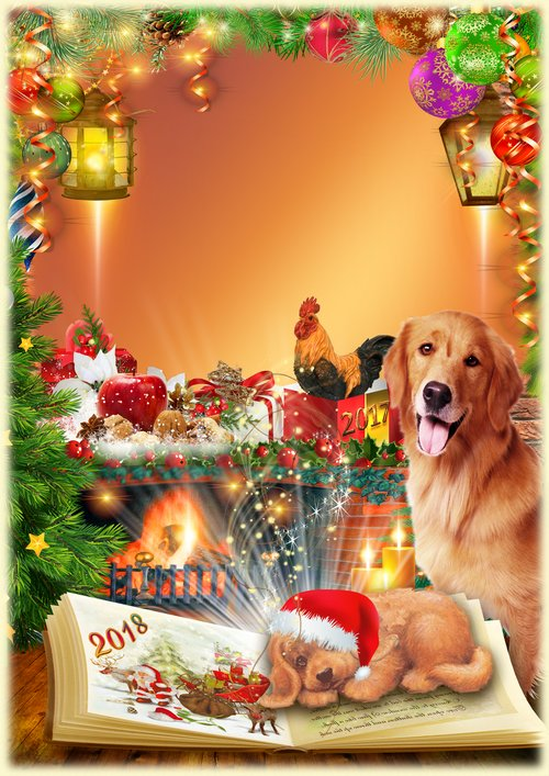 Christmas Photo frame PSD PNG - 2018 Year of the Dog for free ...
