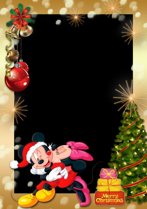 Winter Holiday Photo Frame With Mickey And Minnie Mouse Merry