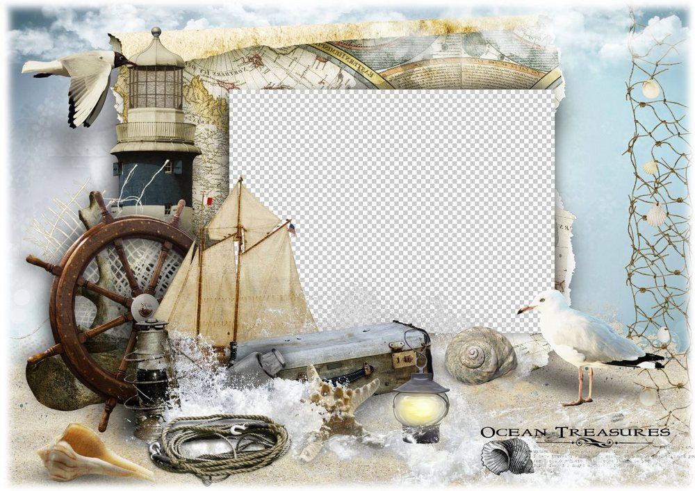 Marine Photo Frame PSD file and PNG image - Ocean treasures for free ...