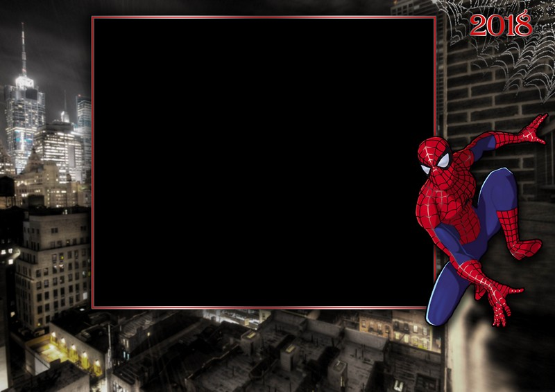 Photo Frame Template - Spiderman. Transparent PNG Frame, Layered PSD ...