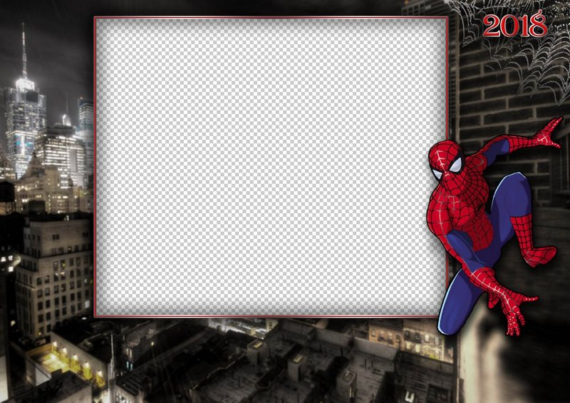 photo frame template spiderman transparent png frame psd layered