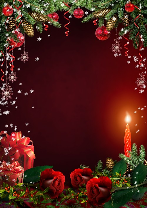 Beautiful Christmas Frame PSD PNG - A romantic evening with candles and  DA09