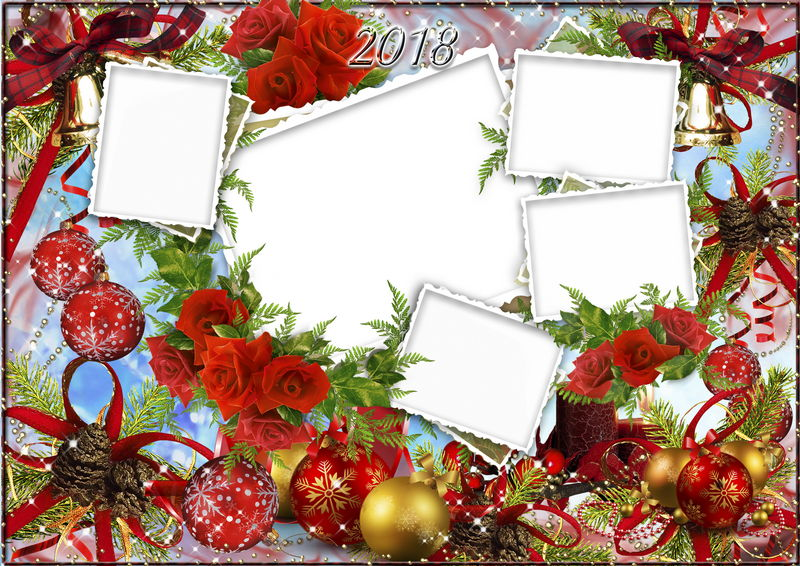 Christmas Photo Frame free PSD file ( layered ) for FivE PhoToS and ...