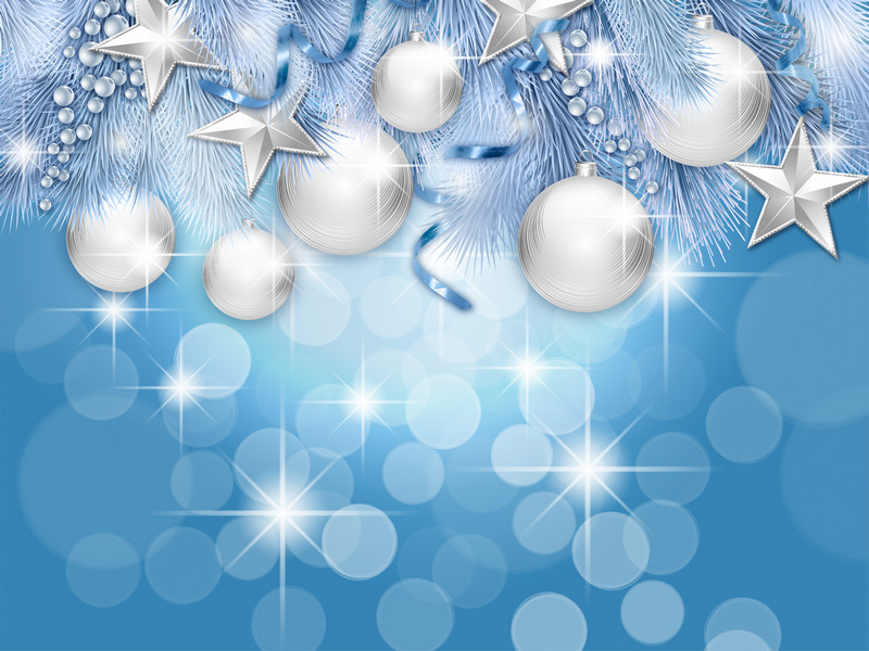 Photoshop Background Silver Christmas Stars And Balls Free