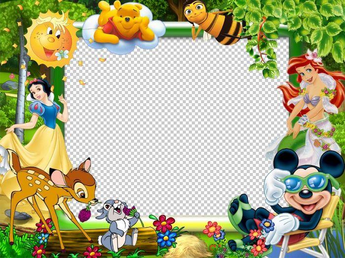 Free psd template photo frames for baby photos with Disney cartoon ...
