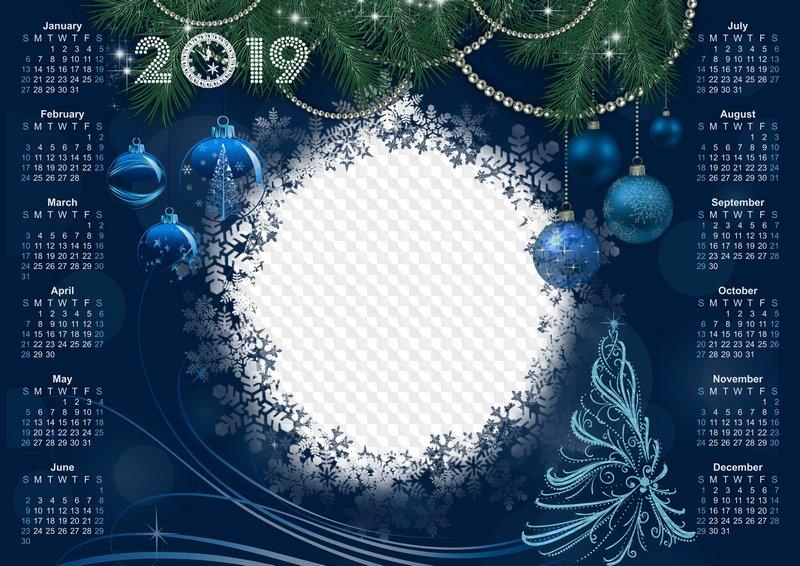 2019 2018 Dark Blue Calendar Template Magical Holiday Psd