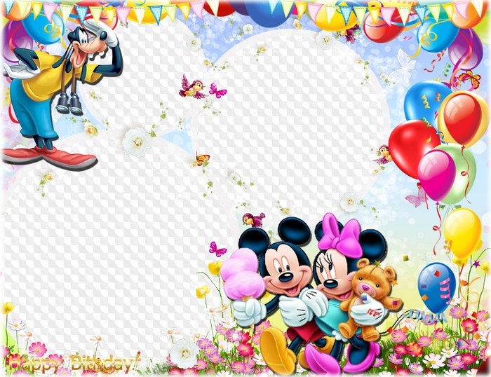 Birthday Photo Frame With Pluto Mickey And Minnie Mouse Psd Png