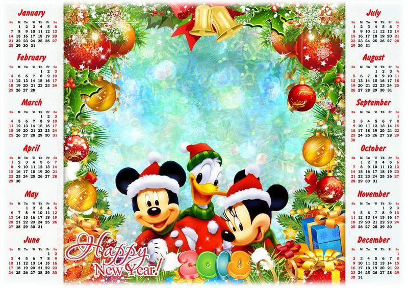 Calendario Dibujo Png.2018 Calendario De Dibujos Animados De Disney Mickey Minnie