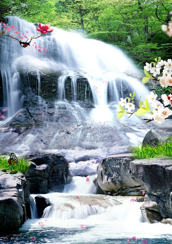 Waterfall in the Forest, Nature Free PSD file ( layered ) Free