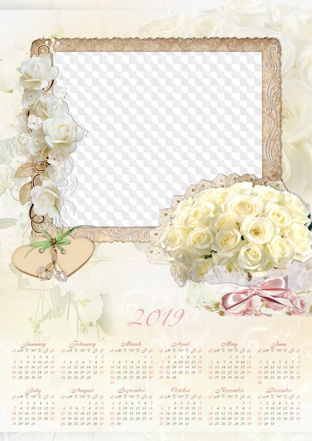 wedding calendar white roses 2019 2018 psd
