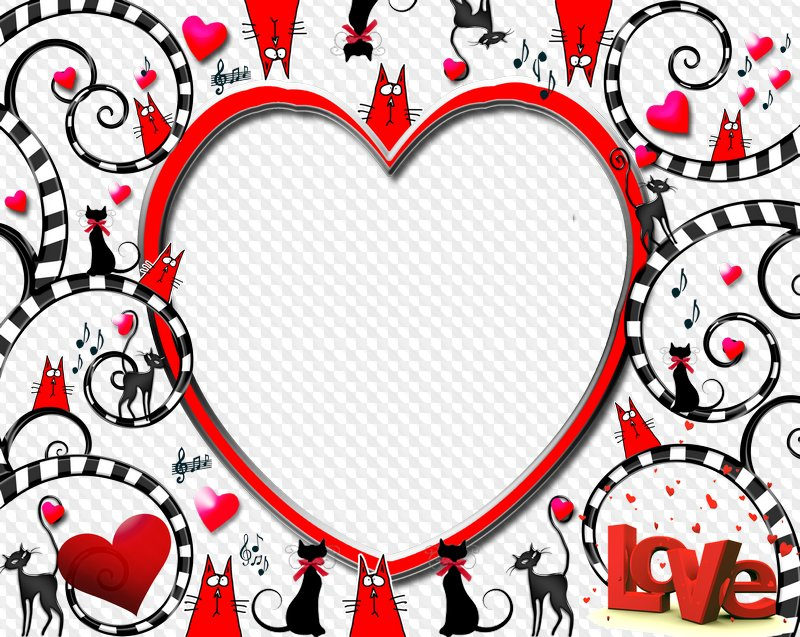 Photo frame - Heart, Love and Cats ( PSD | PNG ). Transparent PNG ...