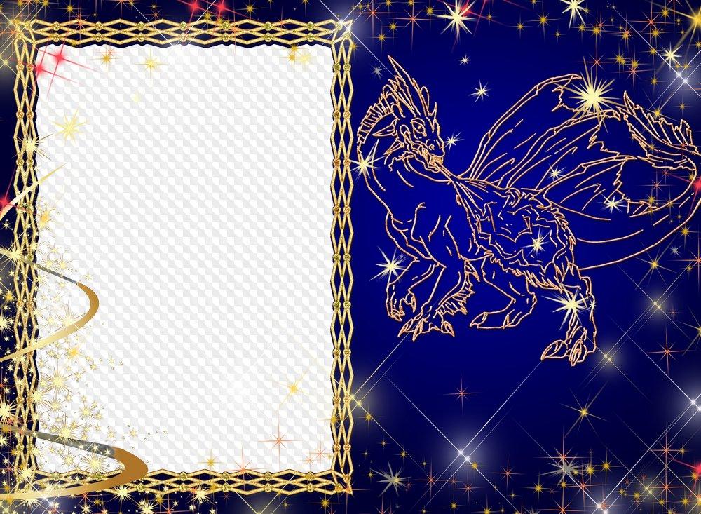 Marco para la foto - Dragón estrella. Marco PNG transparente ...