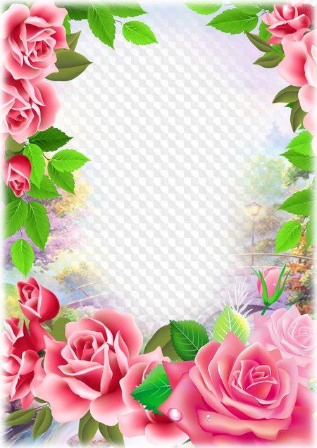 8 de marzo marco de fotos con flores para photoshop marco png