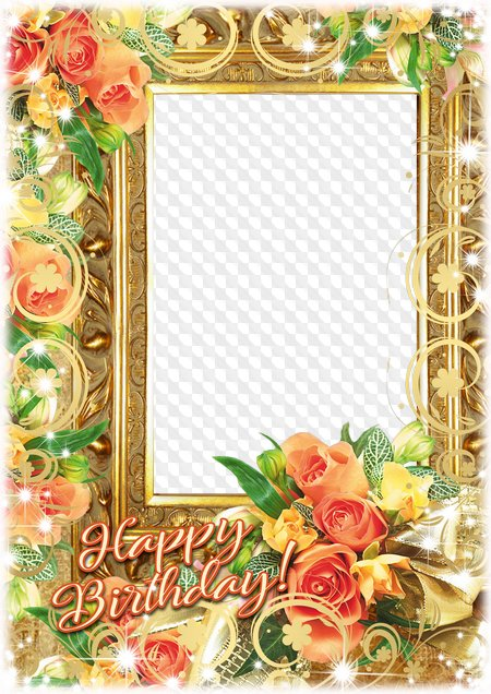 Happy Birthday photo frame for Photoshop. Transparent PNG Frame, PSD ...