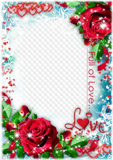 Love photo frame for Photoshop - FULL OF LOVE. Transparent PNG Frame ...