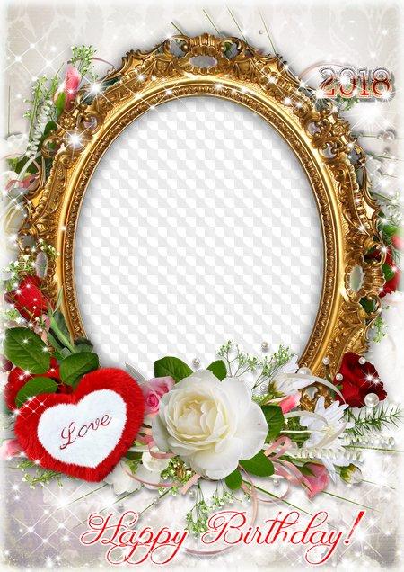 Birthday Photo frame for Photoshop - Happy Birthday!. Transparent ...