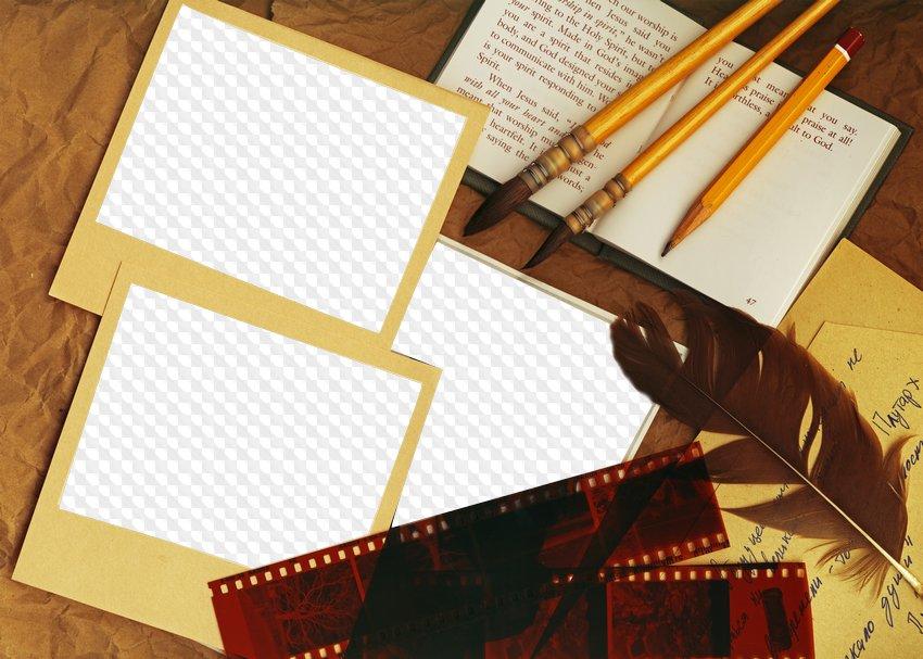 Marco de fotos - Mis notas, para 3 fotos (Polaroid), PNG, plantilla ...
