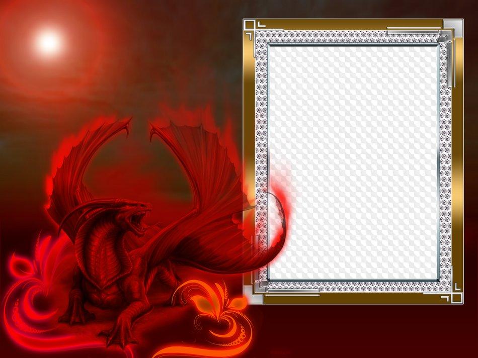 Frame for Photoshop - Fire Dragon. Transparent PNG Frame, PSD ...