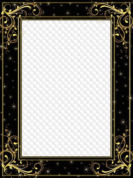Starry Night Gold On Black Photo Frame Transparent Png Frame Psd
