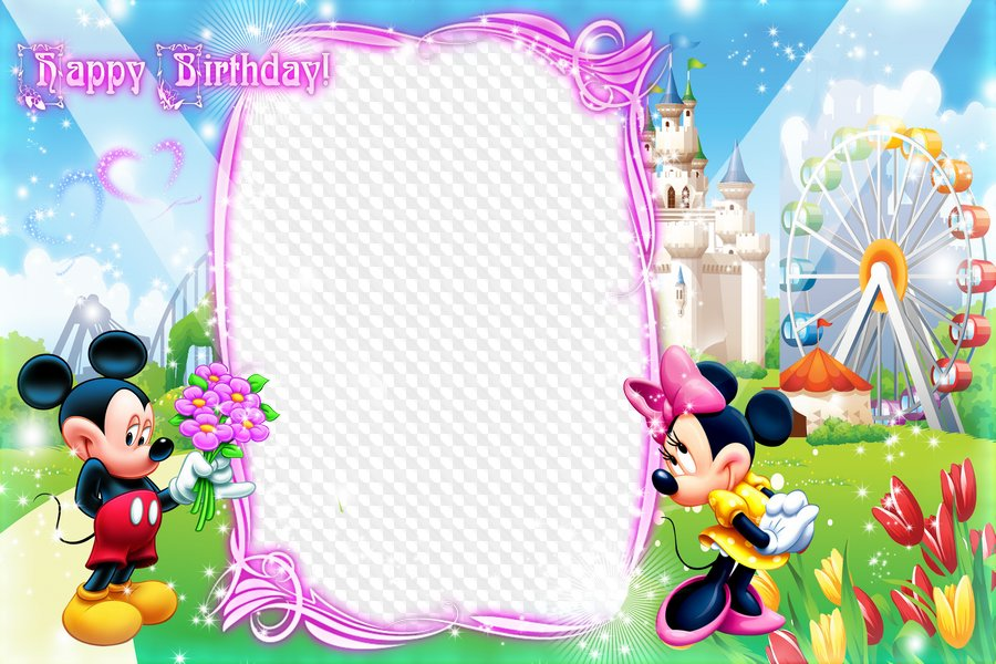 Kids Frame with Mickey and Minnie - Happy Birthday, Baby ...