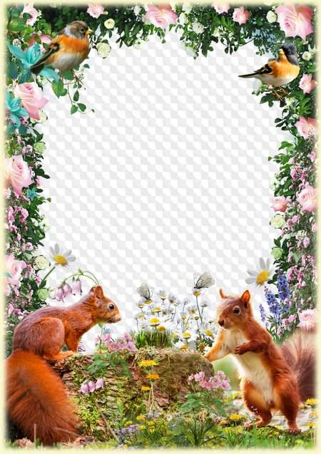 Photo Frame With Squirrels