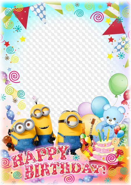 Photo frame with minions - Happy Birthday!. Transparent PNG Frame ...