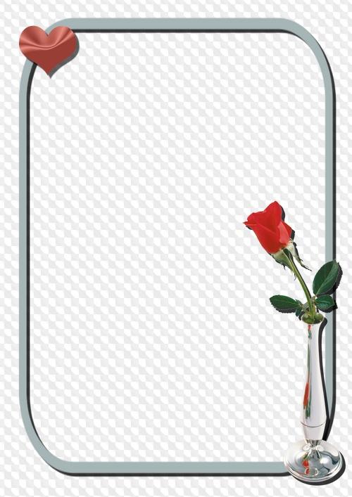 4 marcos de fotos con flores, PNG