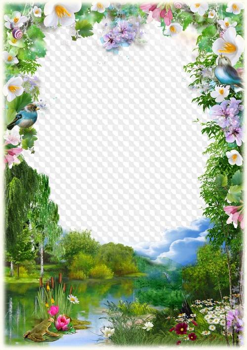 Estanque de bosque, marco de fotos PSD, PNG. Marco PNG transparente ...