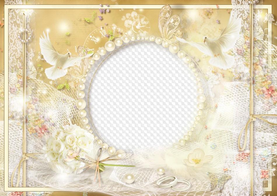 Marco de fotos de boda, palomas blancas, rosas y anillos. Marco PNG ...