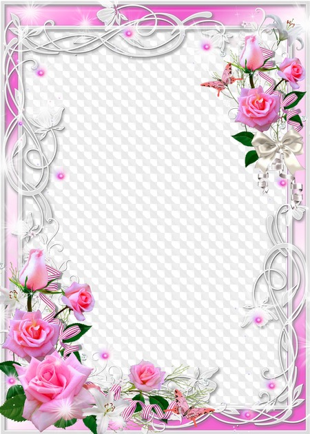 Marco De Fotos Para Photoshop Rosas Rosadas Y Lirios Blancos