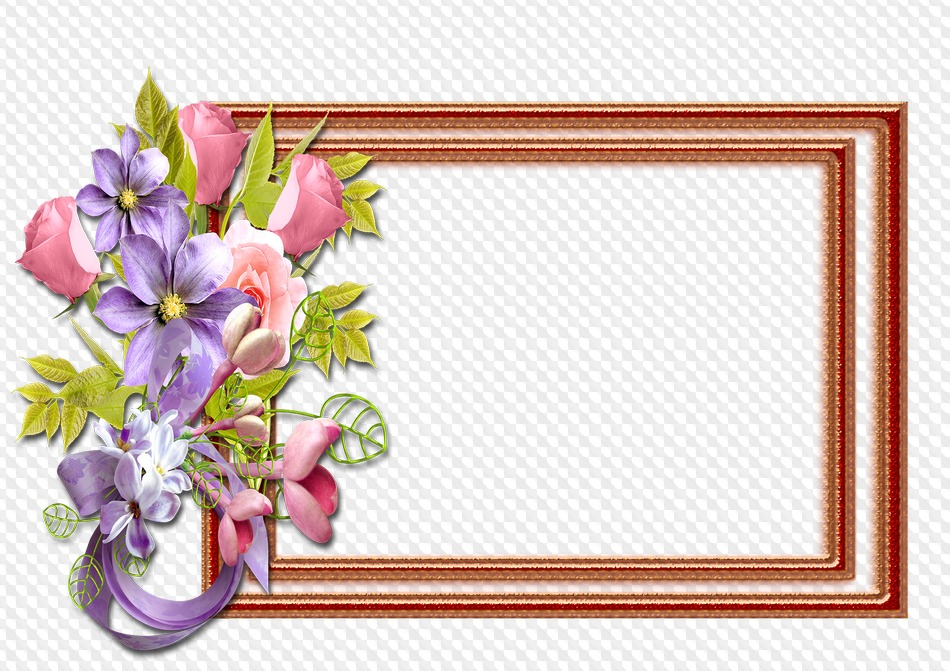 PSD, PNG, marco de la flor. Marco PNG transparente, PSD Plantilla ...