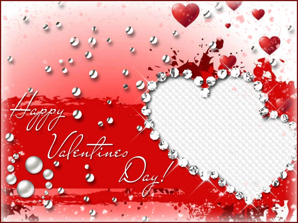 Happy Valentines Day Psd Frame Template For Adobe Photoshop Red